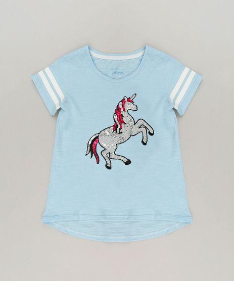 Blusa-Infantil-de-Unicornio-com-Paete-Manga-Curta-Decote-Redondo-em-Algodao---Sustentavel-Azul-Claro-9233131-Azul_Claro_1