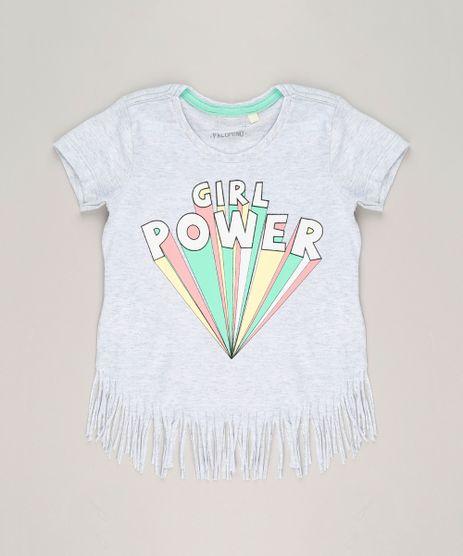 Blusa-Infantil--Girl-Power--com-Franjas-Manga-Curta-Decote-Redondo-em-Algodao---Sustentavel-Cinza-Mescla-Claro-9238644-Cinza_Mescla_Claro_1