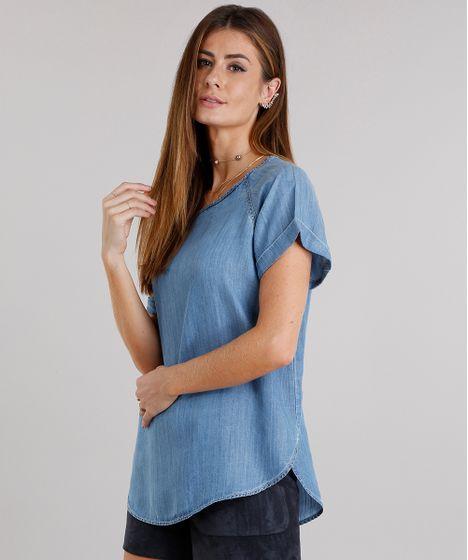 Blusa Jeans Feminina Ampla Manga Curta Decote Redondo Azul Claro - cea e04211f9e464b