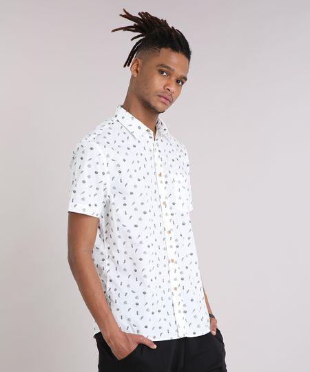 ef0cf29377 Menor preço em Camisa Masculina Mini Print Folhagem com Bolso Manga Curta  Off White