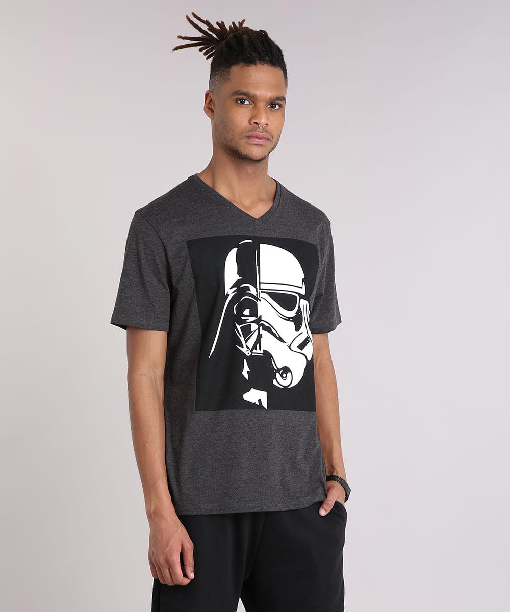 Camiseta Masculina Darth Vader Stormtrooper Manga Curta Gola V Cinza ... f05ad6c1918