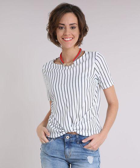 Blusa-Feminina-Listrada-com-No-Manga-Curta-Decote-Redondo-Off-White-9248804-Off_White_1