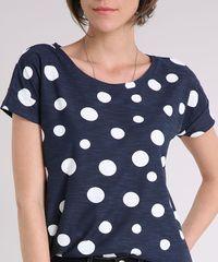 318dd29ab ... Blusa-Feminina-Estampada-de-Poa-Manga-Curta-Decote-. Blusa Feminina  Estampada de Poá Manga Curta Decote Redondo Azul Marinho