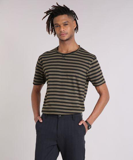 Camiseta-Masculina-Listrada-Manga-Curta-Gola-Careca-Verde-Militar-9204774-Verde_Militar_1