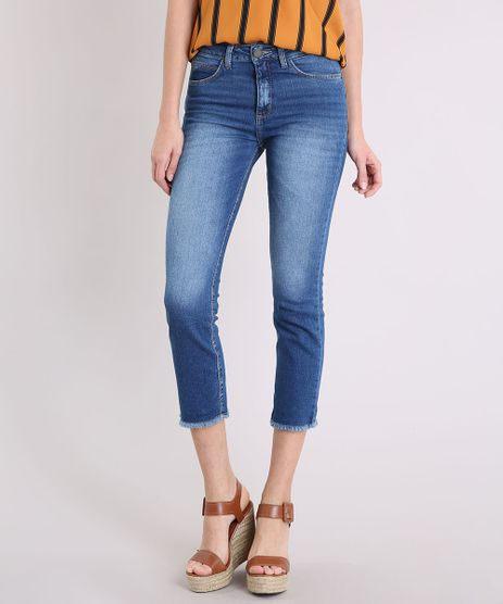 Calca-Jeans-Feminina-Cropped-Reta-com-Barra-Desfiada-Cintura-Alta-Azul-Escuro-9209332-Azul_Escuro_1