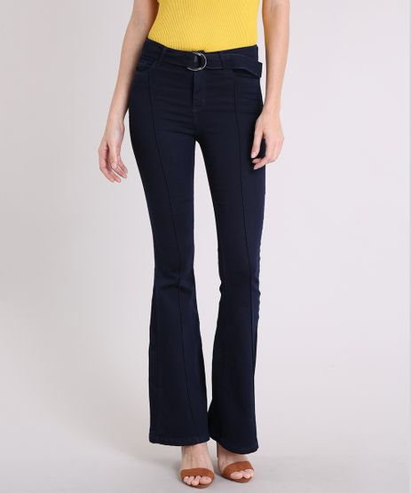 Calca-Jeans-Feminina-Flare-Cintura-Alta-com-Cinto-de-Argola-Azul-Escuro-9209336-Azul_Escuro_1