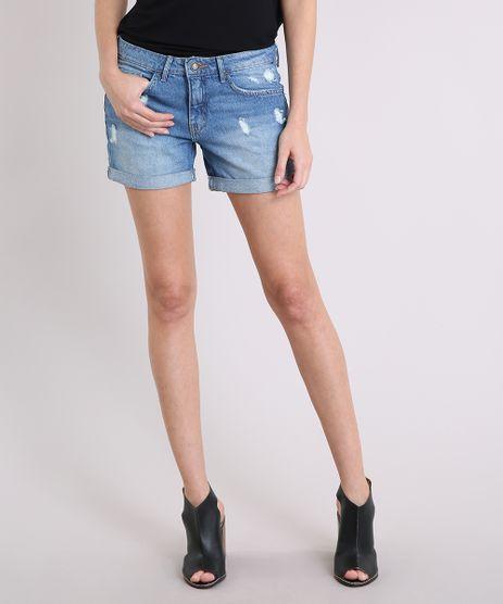 Short-Jeans-Feminino-Midi-com-Puidos-Barra-Dobrada-Azul-Medio-9195857-Azul_Medio_1