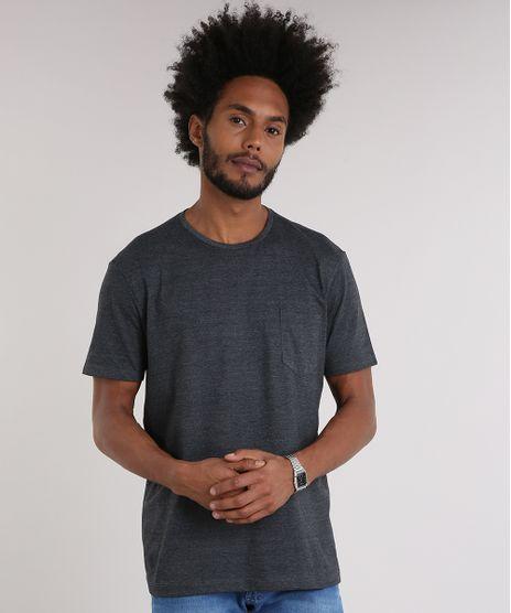 608b1812c7 Camiseta-Masculina-Basica-com-Bolso-Manga-Curta-Gola-