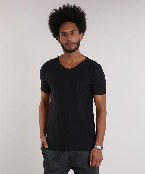 Camiseta-Masculina-Basica-Manga-Curta-Gola-V-em-Algodao---Sustentavel-Preta-8144866-Preto_1