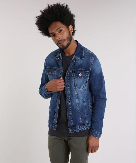 Jaqueta-Masculina-Jeans-Manga-Longa-Azul-Escuro-9047828- ... 8ab61f384dd