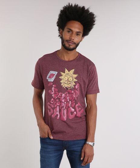 Camiseta-Masculina-Rick-and-Morty-Manga-Curta-Gola-Careca-Vinho-9216173-Vinho_1