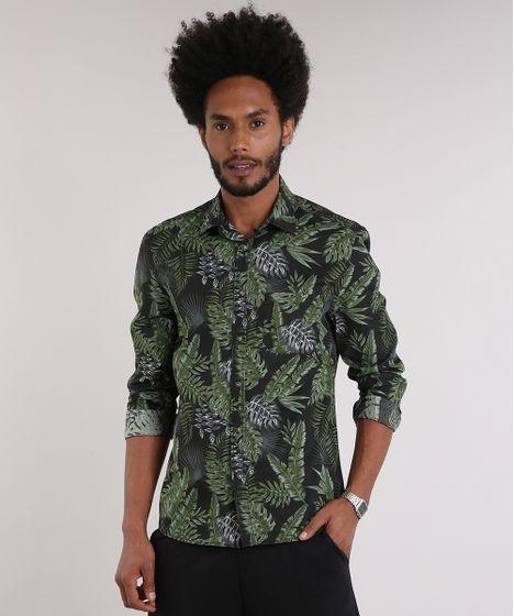 c275cecf3e Camisa Masculina Estampada de Folhagem com Bolso Manga Longa Preta - cea