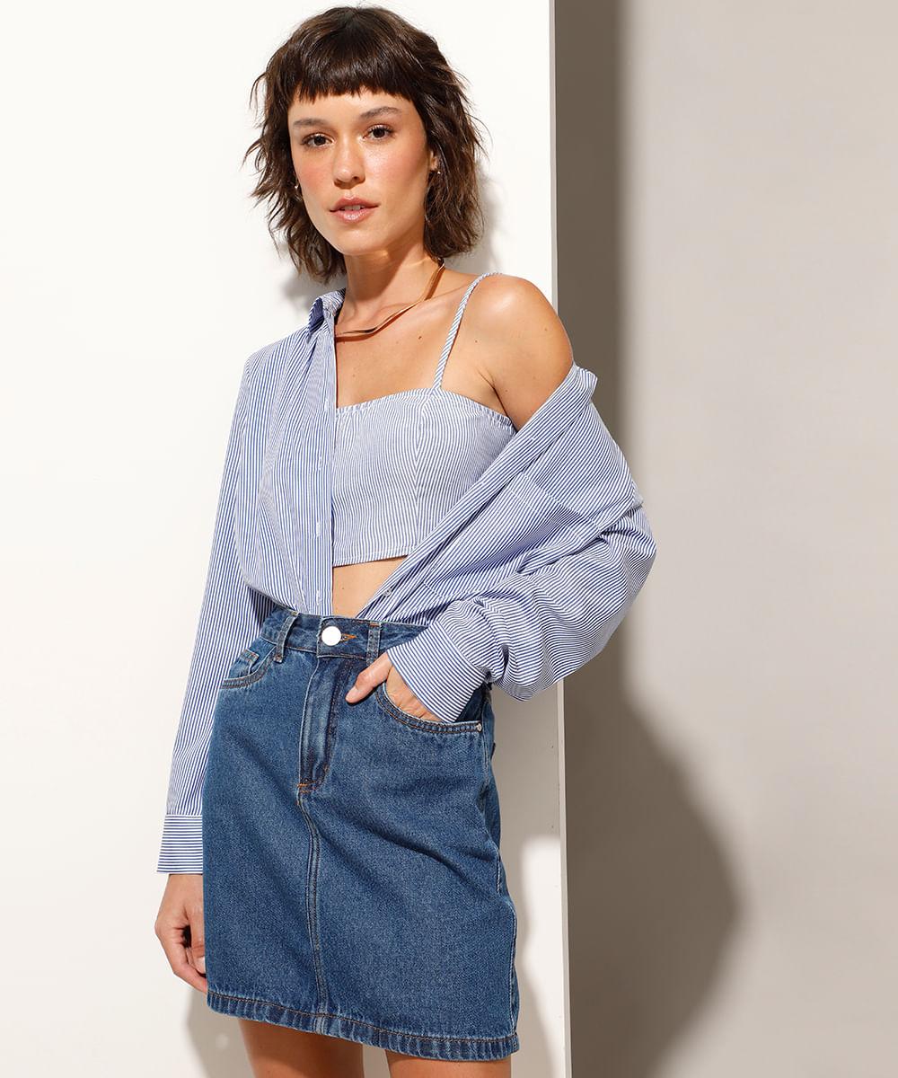 Saia Curta Jeans com Bolsos Azul Médio