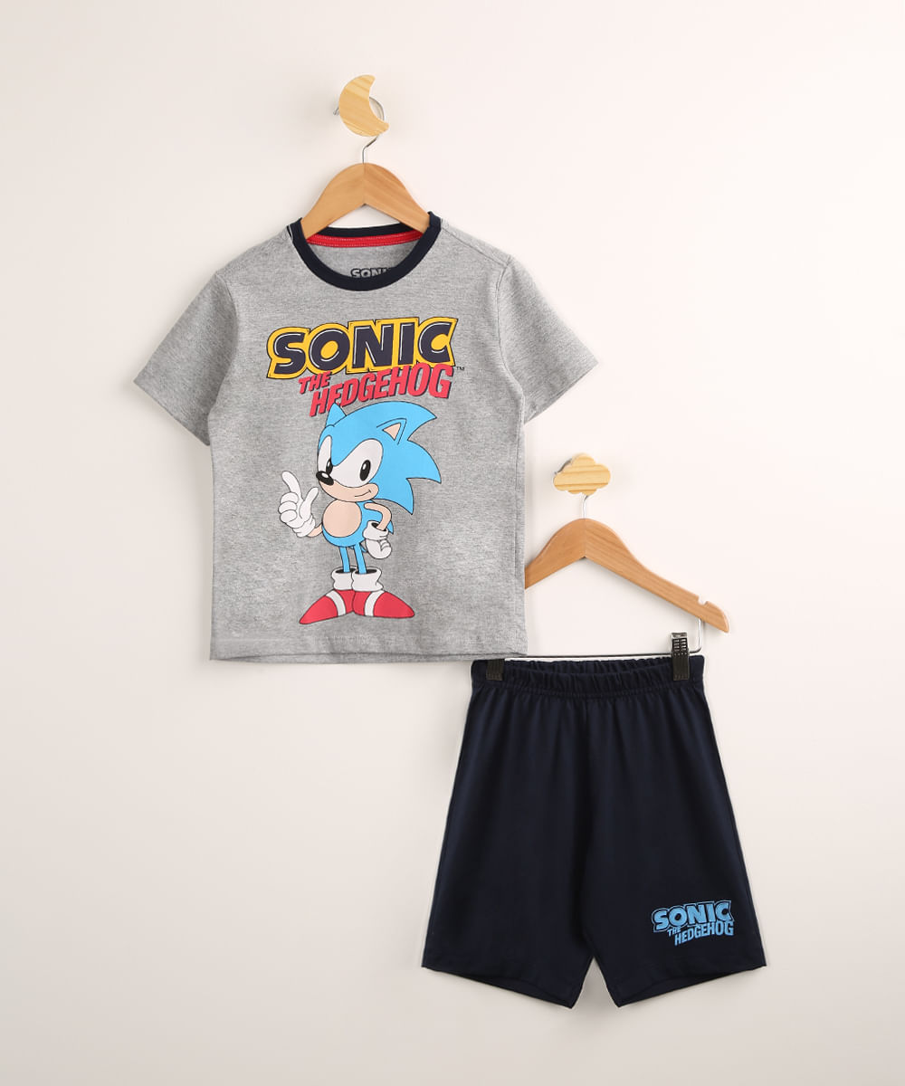 Pijama Infantil Camiseta Manga Curta Sonic Cinza Mescla + Bermuda Preta