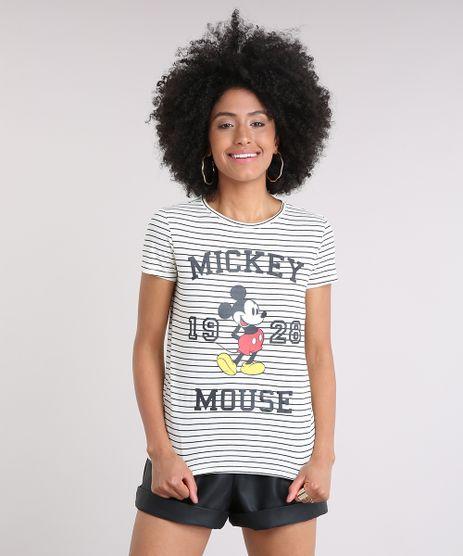 Blusa-Feminina-Listrada-Mickey-Mouse-Manga-Curta-Decote-Redondo-em-Algodao---Sustentavel-Off-White-9238961-Off_White_1