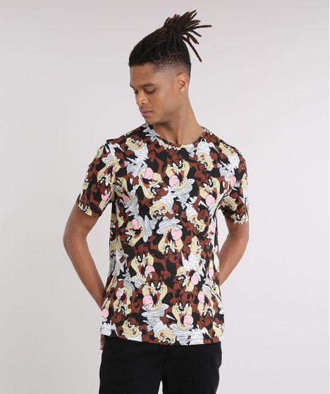 524fc337e0 Camiseta Masculina Estampada Taz Manga Curta Gola Careca Preta - cea