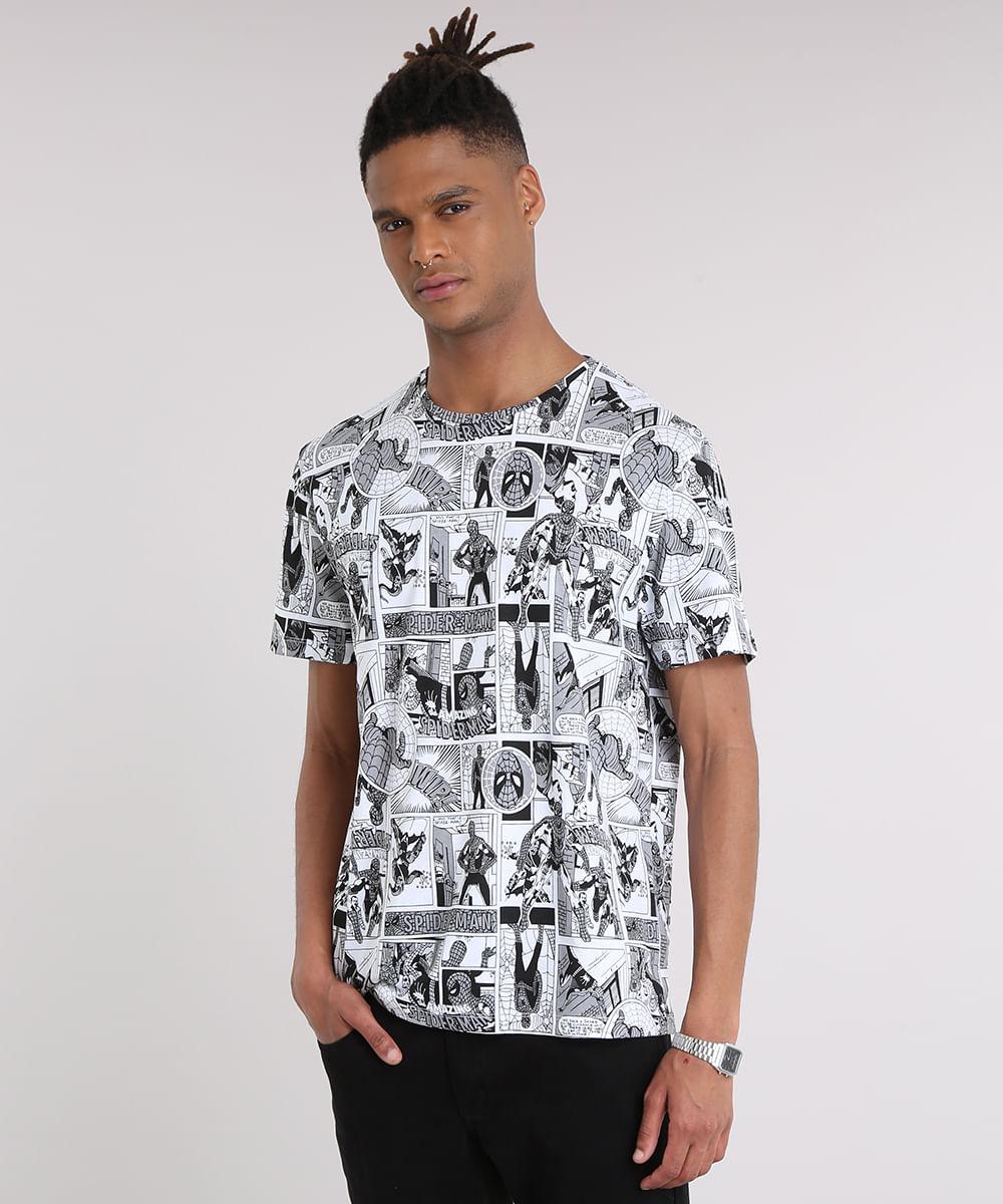 06d7e6d5ef737 Camiseta Masculina Estampada de Quadrinhos Homem Aranha Manga Curta ...