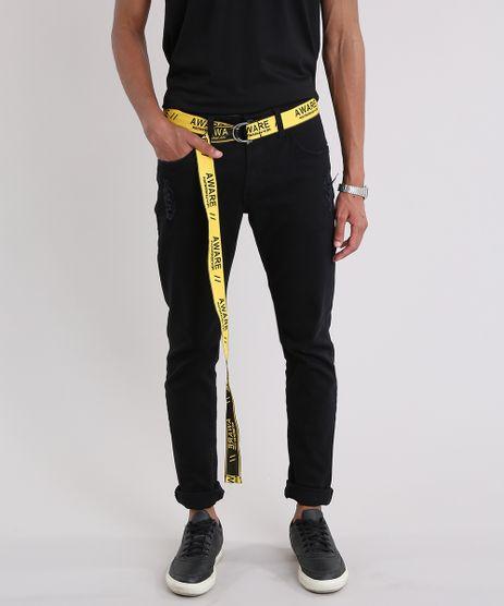 Calca-Masculina-Slim-com-Cinto-Amarelo-e-Preto-9203007-Preto_1