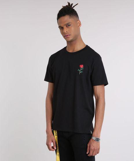 Camiseta-Masculina--Rock-and-Roses--com-Bordado-de-Rosa-Manga-Curta-Gola-Careca-Preta-9194383-Preto_1