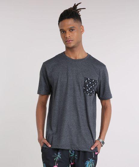 Camiseta-Masculina-com-Bolso-Estampado-de-Tubaroes-Manga-Curta-Gola-Careca-Cinza-Mescla-Escuro-9237348-Cinza_Mescla_Escuro_1