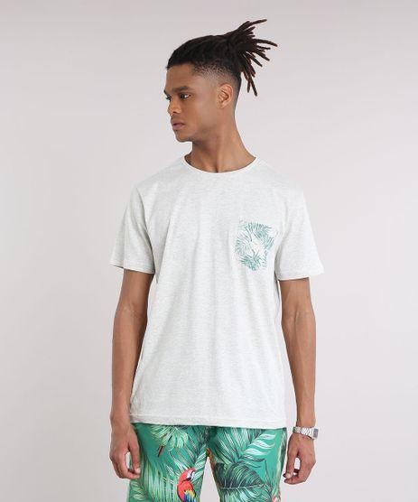 Camiseta-Masculina-com-Bolso-Estampado-de-Folhagens-Manga-Curta-Gola-Careca-Cinza-Mescla-Claro-9237765-Cinza_Mescla_Claro_1