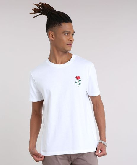 Camiseta-Masculina--Rock-and-Roses--com-Bordado-de-Rosa-Manga-Curta-Gola-Careca-Off-White-9194383-Off_White_1
