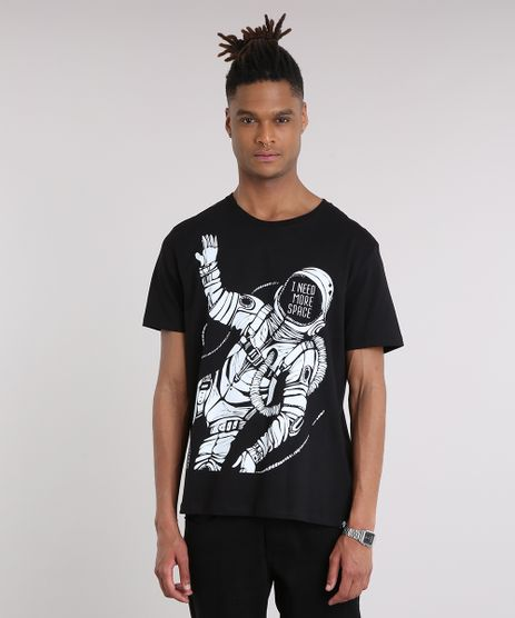 Camiseta-Masculina-Astronauta-Manga-Curta-Gola-Careca-Preta-9194381-Preto_1
