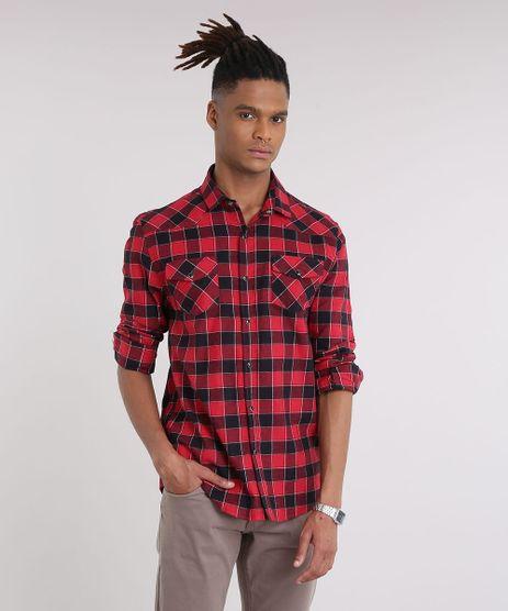 Camisa-Masculina-em-Flanela-Estampada-Xadrez-com-Bolsos-Manga-Longa-Vermelha-9186042-Vermelho_1