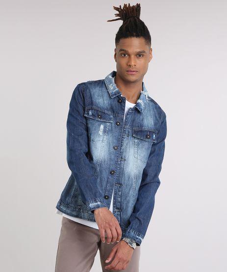 Jaqueta-Jeans-Masculina-Trucker-Destroyed-com-Bolsos-Azul-Escuro-9201954-Azul_Escuro_1