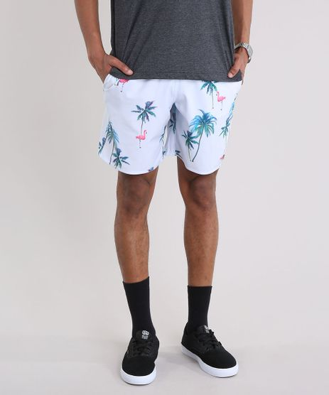 Bermuda-Masculina-Estampada-de-Coqueiros-e-Flamingos-com-Bolsos-Azul-Claro-9158966-Azul_Claro_1