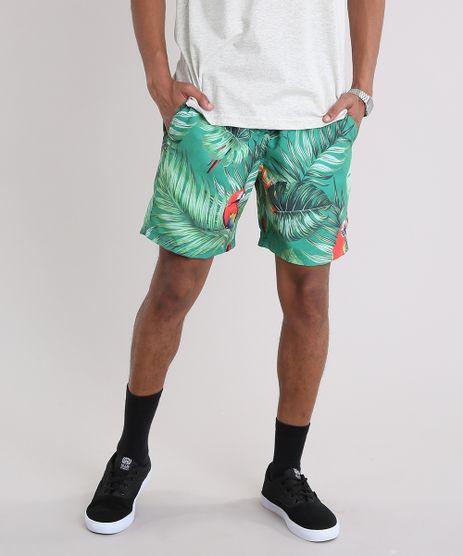 Bermuda-Masculina-Estampada-de-Folhagem-com-Araras-com-Bolsos-Verde-9226915-Verde_1