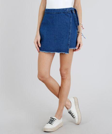 Saia-Jeans-Feminina-Envelope-com-Amarracao-Azul-Escuro-9209352-Azul_Escuro_1
