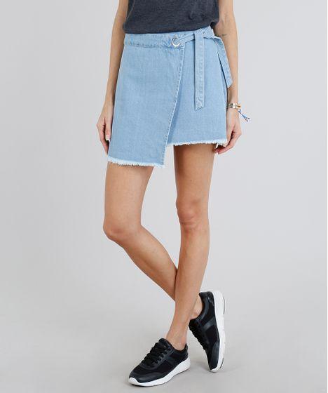 7a8907fa5 Saia Jeans Feminina Envelope com Amarração Azul Claro - cea