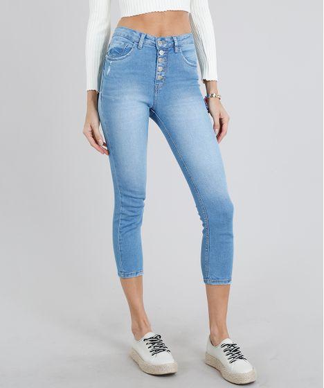 fba878802 Calça Jeans Feminina Skinny Cropped Cintura Alta com Botões Azul ...