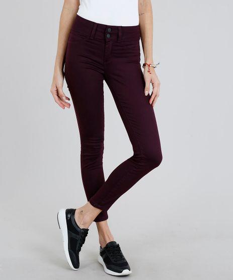 Calca-de-Sarja-Feminina-Super-Skinny-Pull-Up--Vinho-9274701-Vinho_1