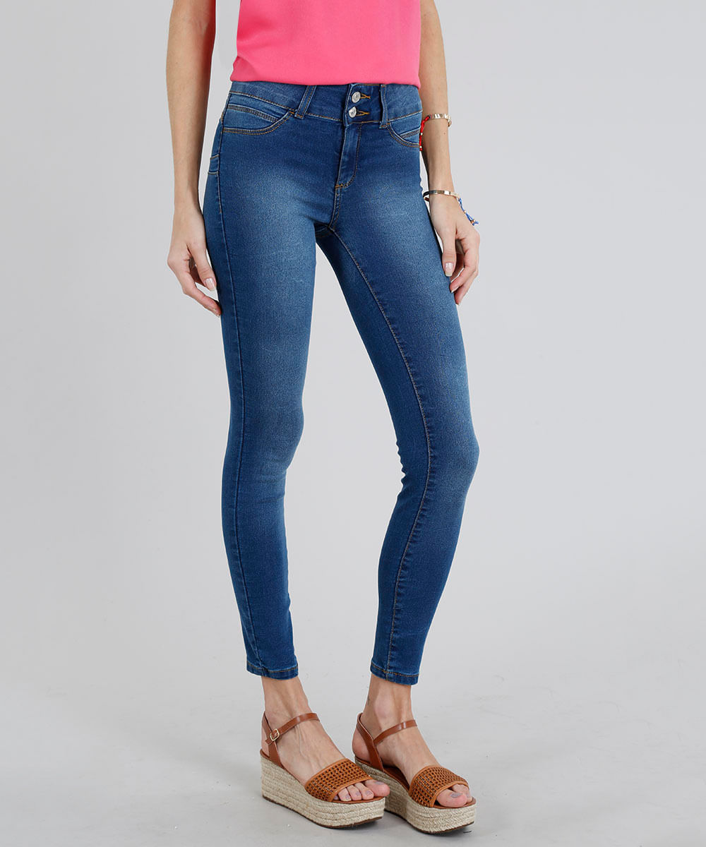 fc5fb97c47 Calça Jeans Feminina Super Skinny Pull Up Azul Escuro - ceacollections