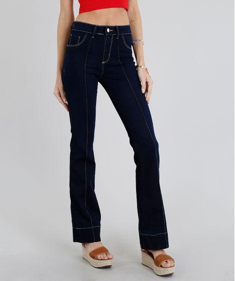 Calça Jeans Feminina Flare Sawary com Friso Azul Escuro - cea ad3d143a260