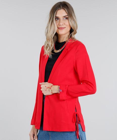 Blazer-Feminino-Reto-com-Fenda-e-Laco-Gola-Tailleur-Manga-Longa-Vermelho-9181377-Vermelho_1