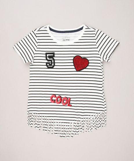 Blusa-Infantil-Listrada-com-Paetes-Manga-Curta-Decote-Redondo-em-Algodao---Sustentavel-Off-White-9273351-Off_White_1