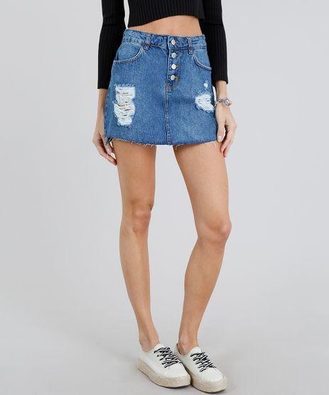 Saia-Jeans-Feminina-Destroyed-com-Botoes-Azul-Medio-9217860-Azul_Medio_1