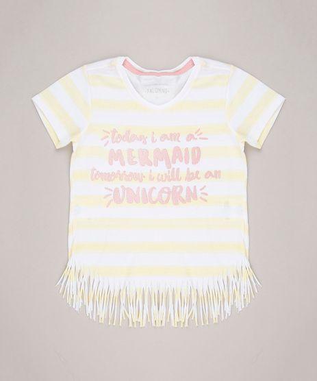 Blusa-Infantil-Listrada-com-Glitter-Manga-Curta-Decote-Redondo-em-Algodao---Sustentavel-Amarelo-Claro-9238830-Amarelo_Claro_1