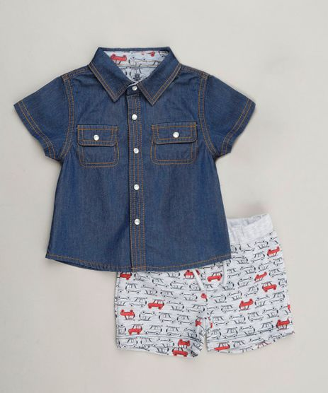 Conjunto-Infantil-de-Camisa-Jeans-Manga-Curta-Azul-Escuro---Bermuda-Estampada-de-Moletom-em-Algodao---Sustentavel-Cinza-Mescla-Claro-9118897-Cinza_Mescla_Claro_1
