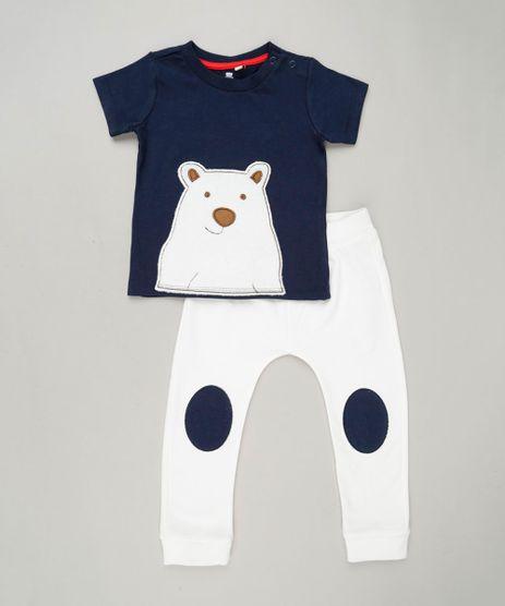 Conjunto-Infantil-Urso-de-Camiseta-Manga-Curta-Azul-Marinho---Calca-com-Recortes-em-Moletom-de-Algodao---Sustentavel-Off-White-9118902-Off_White_1