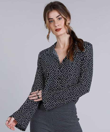 Camisa-Feminina-Estampada-de-Poa-Manga-Longa--Preta-9245741-Preto_1