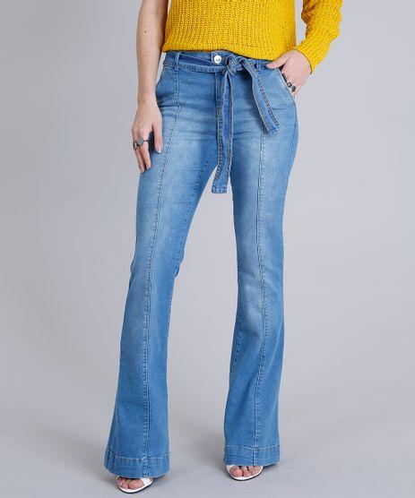 Calca-Jeans-Feminina-Flare-com-Faixa-Azul-Claro-9209330-Azul_Claro_1