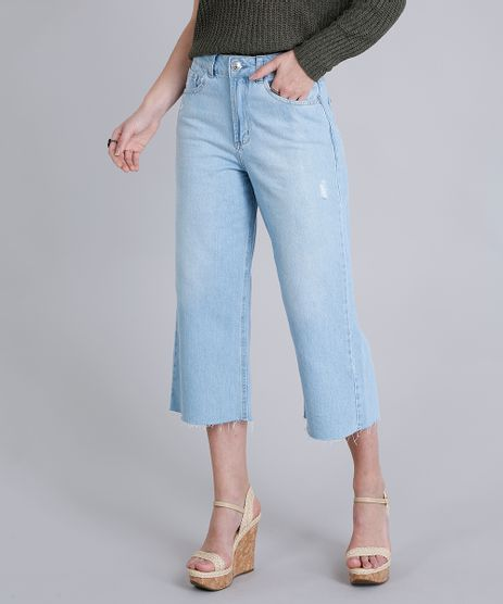 Calca-Jeans-Feminina-Pantacourt-com-Puidos-Delave-9217840-Delave_1