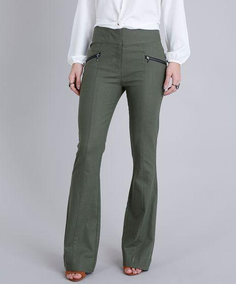 Calca-Feminina-Flare-em-Linho-com-Ziper-Verde-Militar-9189775-Verde_Militar_1