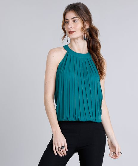 Regata-Feminina-Halter-Neck-com-Pregas-Decote-Redondo-Verde-8816523-Verde_1