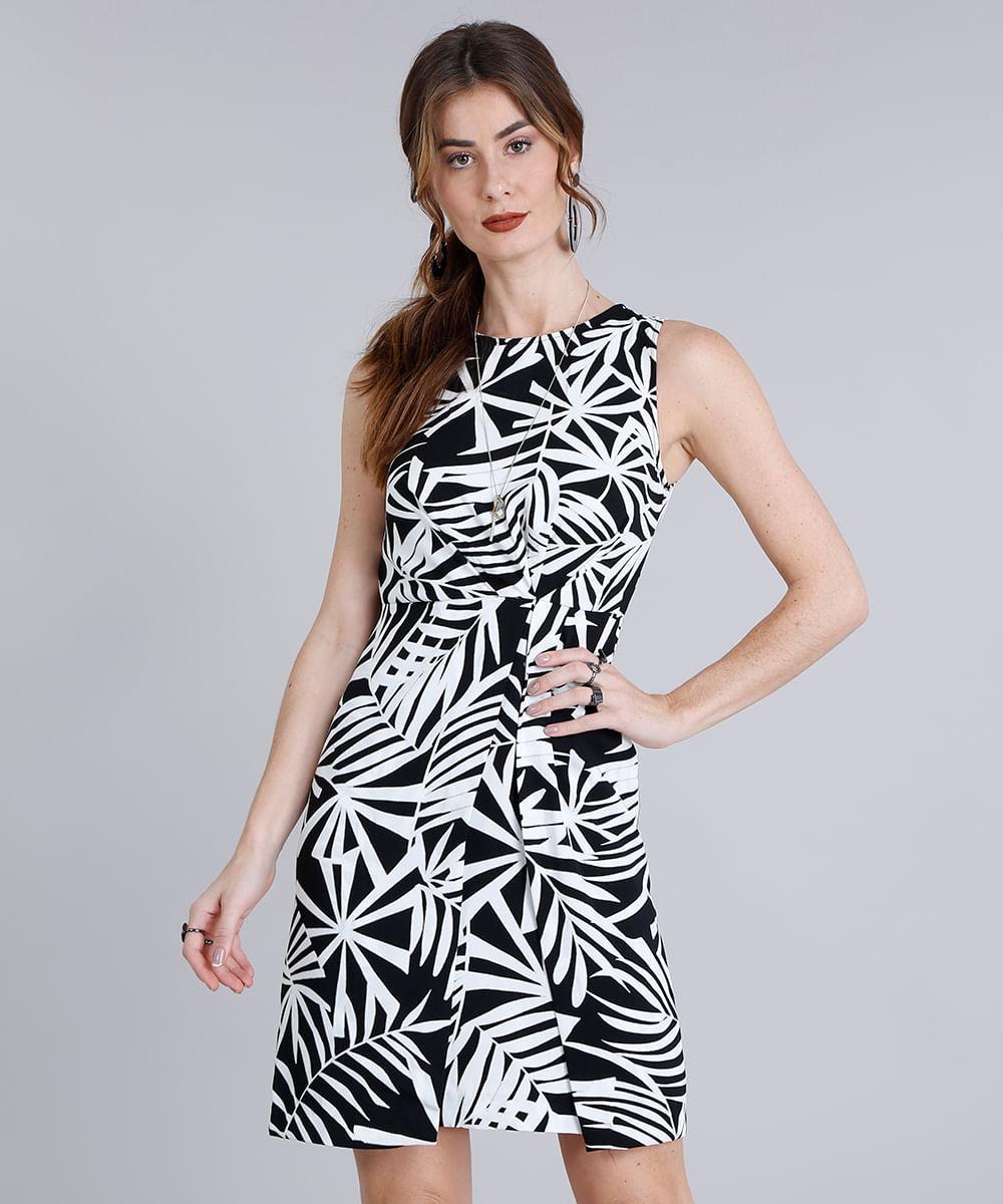 072e55c195 Vestido Feminino Curto Estampado de Folhagem com Pregas Sem Manga ...