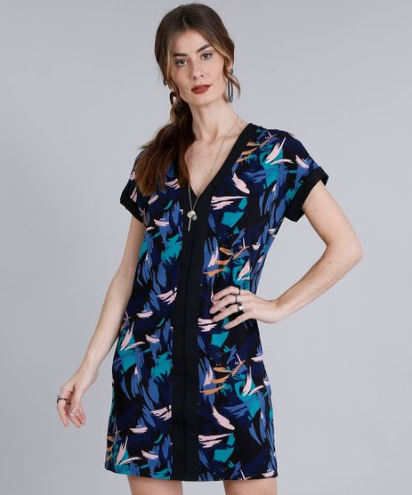 Vestido-Feminino-Curto-Estampado-com-Recorte-Manga-Curta-Decote-V-Preto-9212053-Preto_1